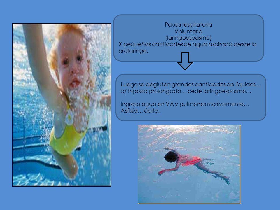 Pausa respiratoria Voluntaria (laringoespasmo) X pequeñas cantidades de agua aspirada desde la orofaringe.