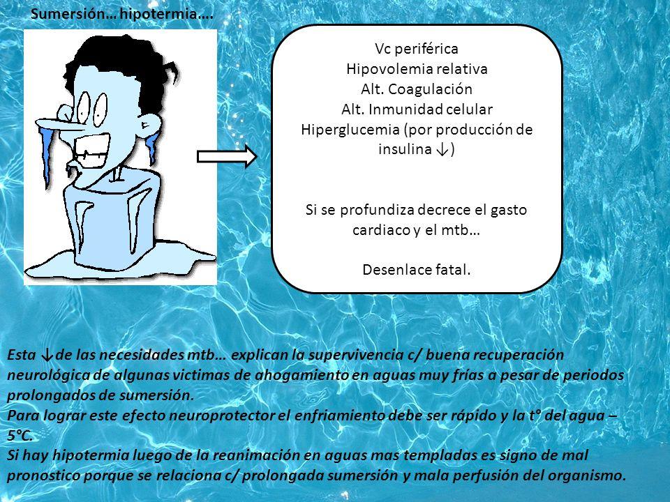 Recalentamiento: en 6-8 hs Hasta alcanzar 36° p/ evitar empeorar el daño neurológico (por Vd súbita y shock) Retirar mantas térmicas Remover packs de hielo Suspender lavados salinos