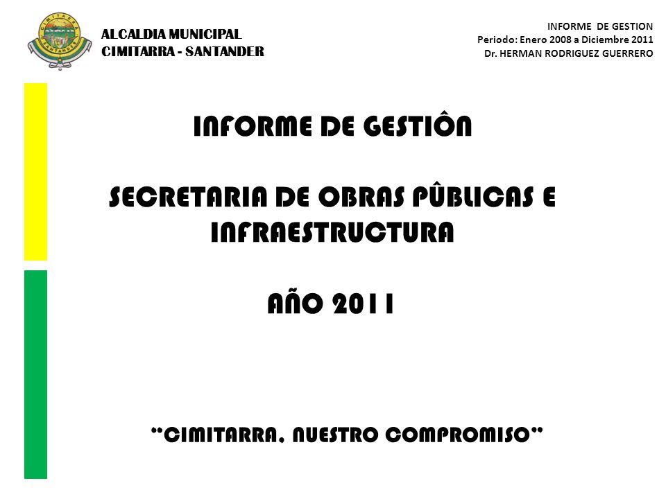 ALCALDIA MUNICIPAL CIMITARRA - SANTANDER INFORME DE GESTION Periodo: Enero 2008 a Diciembre 2011 Dr. HERMAN RODRIGUEZ GUERRERO CIMITARRA, NUESTRO COMP
