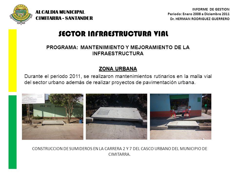 SECTOR INFRAESTRUCTURA VIAL PROGRAMA: MANTENIMIENTO Y MEJORAMIENTO DE LA INFRAESTRUCTURA ZONA URBANA Durante el periodo 2011, se realizaron mantenimie