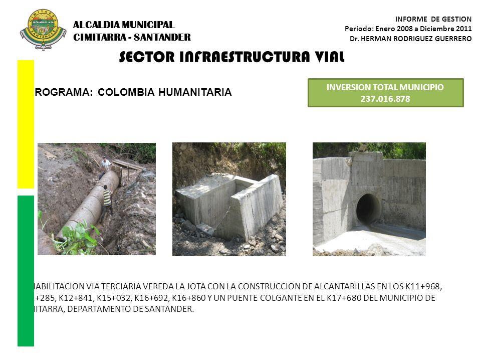 SECTOR INFRAESTRUCTURA VIAL PROGRAMA: COLOMBIA HUMANITARIA INVERSION TOTAL MUNICIPIO 237.016.878 REHABILITACION VIA TERCIARIA VEREDA LA JOTA CON LA CO