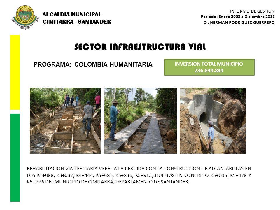 SECTOR INFRAESTRUCTURA VIAL PROGRAMA: COLOMBIA HUMANITARIA INVERSION TOTAL MUNICIPIO 236.849.889 REHABILITACION VIA TERCIARIA VEREDA LA PERDIDA CON LA