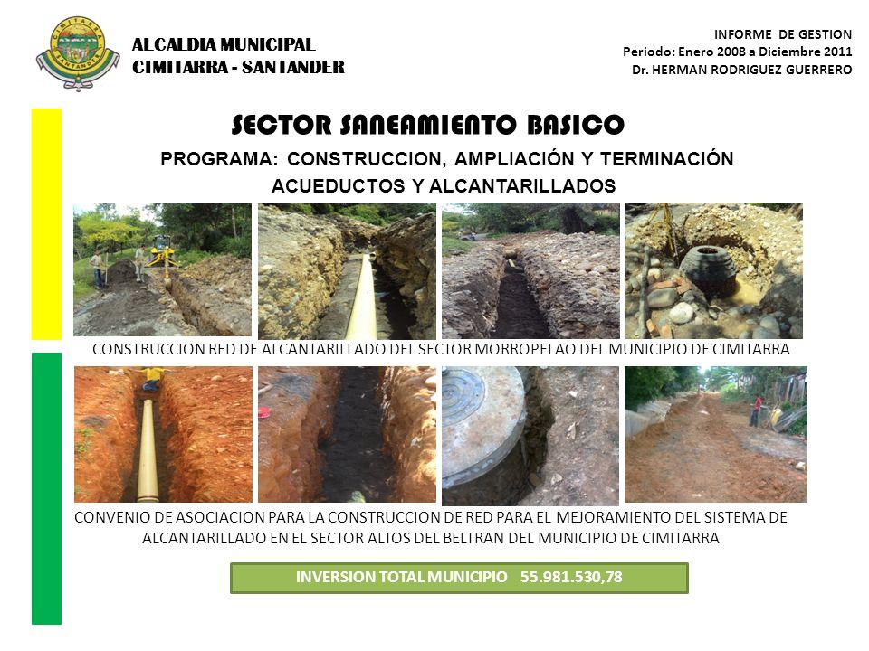 SECTOR SANEAMIENTO BASICO PROGRAMA: CONSTRUCCION, AMPLIACIÓN Y TERMINACIÓN ACUEDUCTOS Y ALCANTARILLADOS INVERSION TOTAL MUNICIPIO 55.981.530,78 CONVEN
