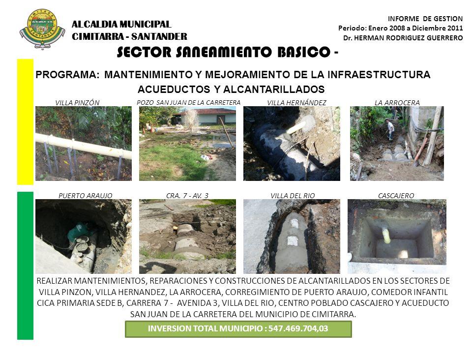 SECTOR SANEAMIENTO BASICO - PROGRAMA: MANTENIMIENTO Y MEJORAMIENTO DE LA INFRAESTRUCTURA ACUEDUCTOS Y ALCANTARILLADOS INVERSION TOTAL MUNICIPIO : 547.