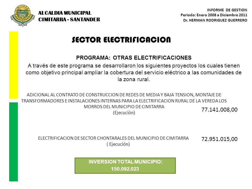 ALCALDIA MUNICIPAL CIMITARRA - SANTANDER INFORME DE GESTION Periodo: Enero 2008 a Diciembre 2011 Dr. HERMAN RODRIGUEZ GUERRERO SECTOR ELECTRIFICACION
