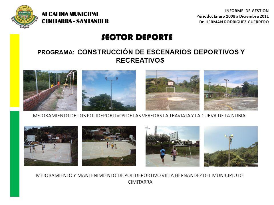 SECTOR DEPORTE PROGRAMA: CONSTRUCCIÓN DE ESCENARIOS DEPORTIVOS Y RECREATIVOS MEJORAMIENTO Y MANTENIMIENTO DE POLIDEPORTIVO VILLA HERNANDEZ DEL MUNICIP