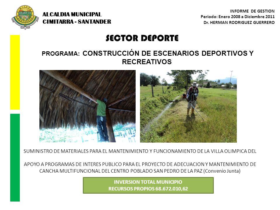 SECTOR DEPORTE PROGRAMA: CONSTRUCCIÓN DE ESCENARIOS DEPORTIVOS Y RECREATIVOS INVERSION TOTAL MUNICIPIO RECURSOS PROPIOS 68.672.010,62 SUMINISTRO DE MA