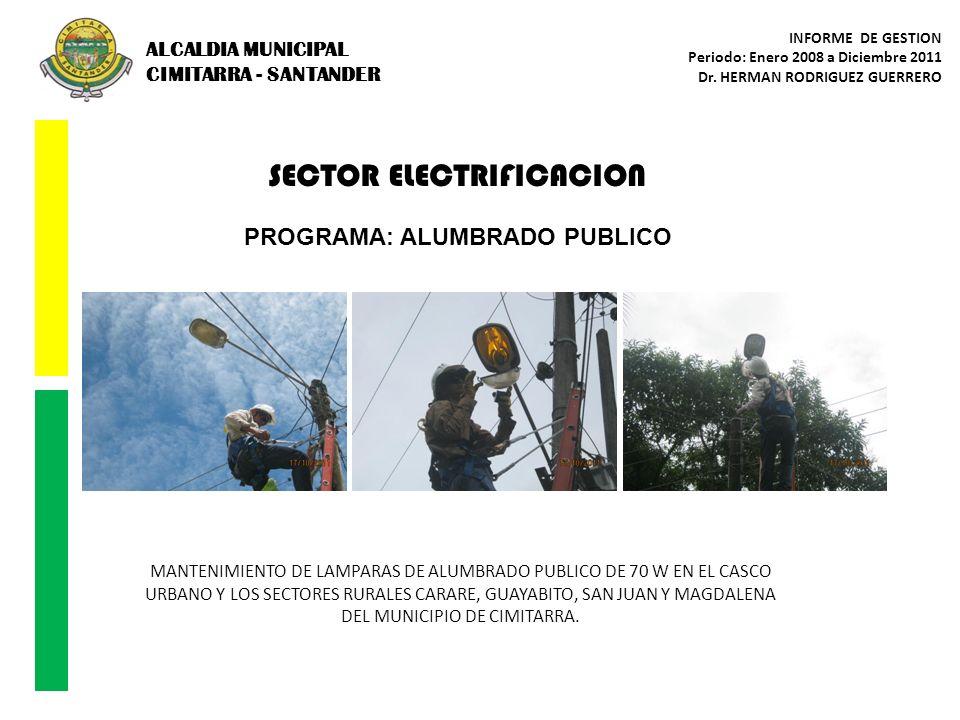 SECTOR ELECTRIFICACION PROGRAMA: ALUMBRADO PUBLICO MANTENIMIENTO DE LAMPARAS DE ALUMBRADO PUBLICO DE 70 W EN EL CASCO URBANO Y LOS SECTORES RURALES CA