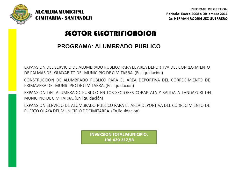 SECTOR ELECTRIFICACION INVERSION TOTAL MUNICIPIO: 196.429.227,58 PROGRAMA: ALUMBRADO PUBLICO EXPANSION DEL SERVICIO DE ALUMBRADO PUBLICO PARA EL AREA
