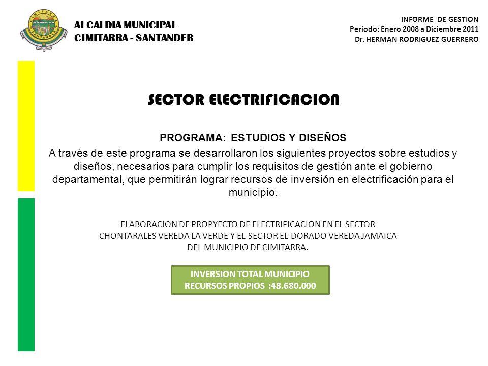SECTOR ELECTRIFICACION PROGRAMA: ESTUDIOS Y DISEÑOS A través de este programa se desarrollaron los siguientes proyectos sobre estudios y diseños, nece
