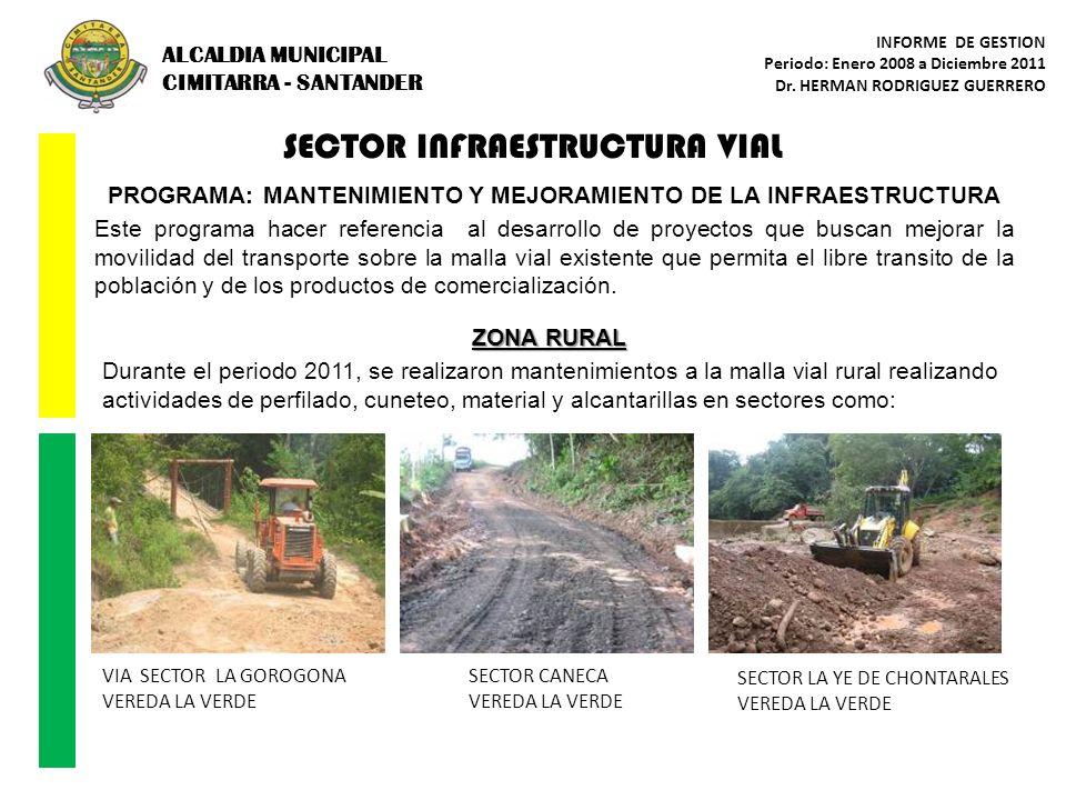 SECTOR INFRAESTRUCTURA VIAL PROGRAMA: MANTENIMIENTO Y MEJORAMIENTO DE LA INFRAESTRUCTURA Este programa hacer referencia al desarrollo de proyectos que