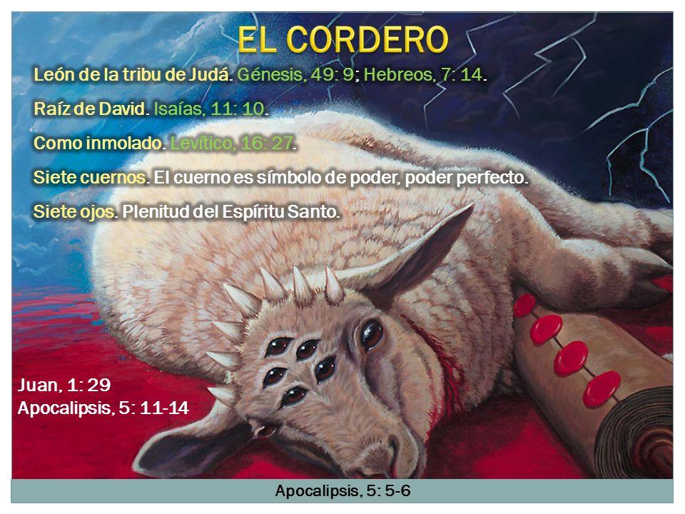 Apocalipsis, 5: 5-6 Juan, 1: 29 Apocalipsis, 5: 11-14