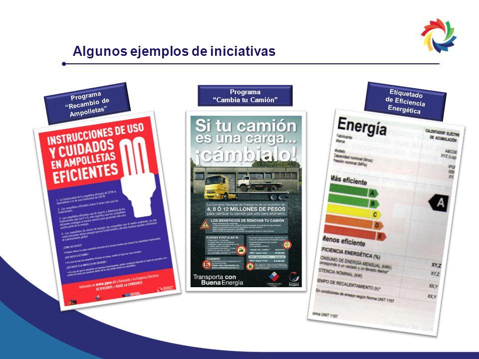 Programa Recambio de Ampolletas Etiquetado de Eficiencia Energética Programa Cambia tu Camión Algunos ejemplos de iniciativas