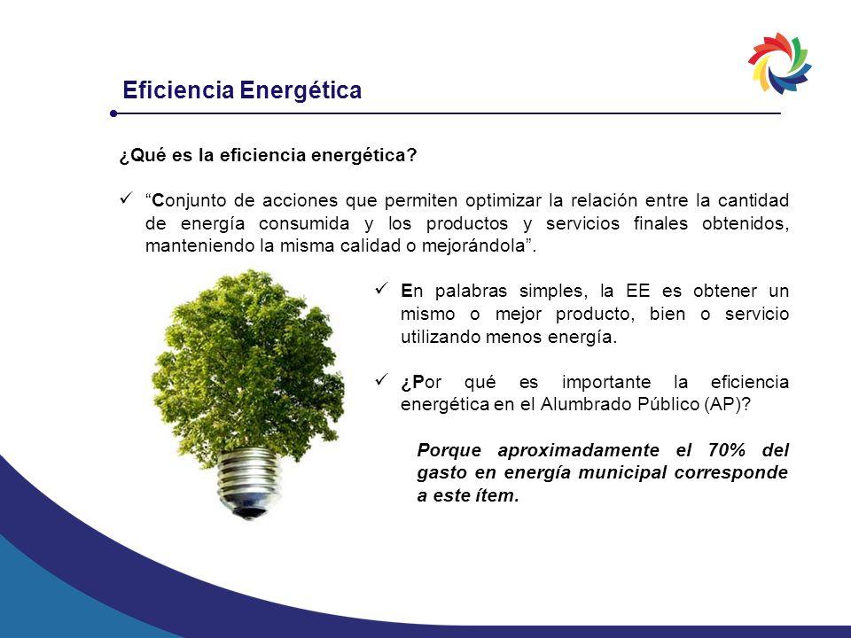 Eficiencia Energética ¿Qué es la eficiencia energética? Conjunto de acciones que permiten optimizar la relación entre la cantidad de energía consumida