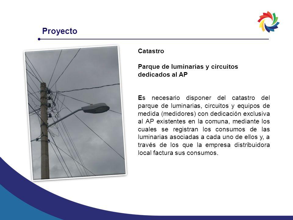 Proyecto Catastro Parque de luminarias y circuitos dedicados al AP Es necesario disponer del catastro del parque de luminarias, circuitos y equipos de