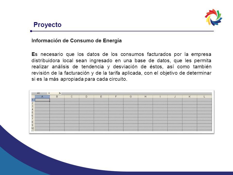 Proyecto Información de Consumo de Energía Es necesario que los datos de los consumos facturados por la empresa distribuidora local sean ingresado en