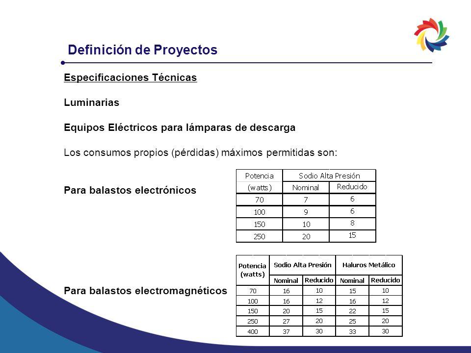 Definición de Proyectos Especificaciones Técnicas Luminarias Equipos Eléctricos para lámparas de descarga Los consumos propios (pérdidas) máximos perm