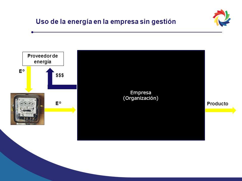 Uso de la energía en la empresa sin gestión Empresa (Organización) Proveedor de energía E° $$$ E° Producto