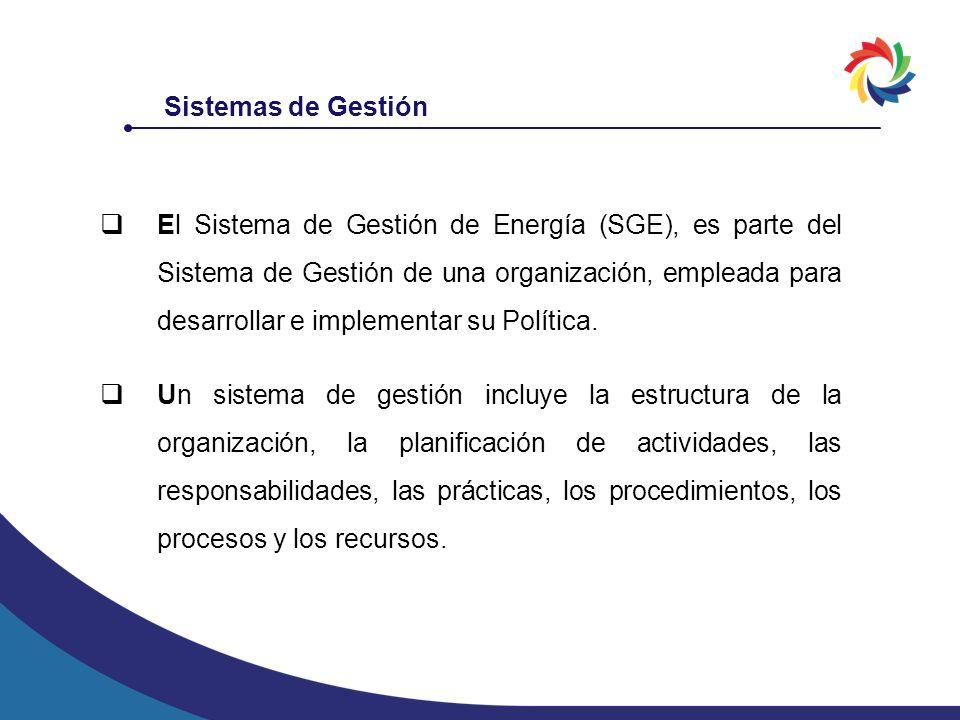 Sistemas de Gestión El Sistema de Gestión de Energía (SGE), es parte del Sistema de Gestión de una organización, empleada para desarrollar e implement