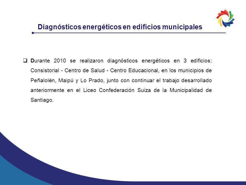 Durante 2010 se realizaron diagnósticos energéticos en 3 edificios: Consistorial - Centro de Salud - Centro Educacional, en los municipios de Peñalolé