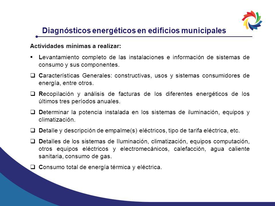 Actividades mínimas a realizar: Levantamiento completo de las instalaciones e información de sistemas de consumo y sus componentes. Características Ge