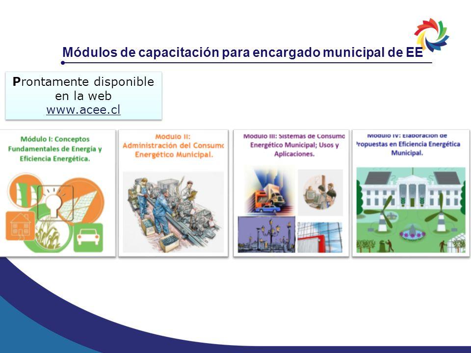 Módulos de capacitación para encargado municipal de EE Prontamente disponible en la web www.acee.cl Prontamente disponible en la web www.acee.cl
