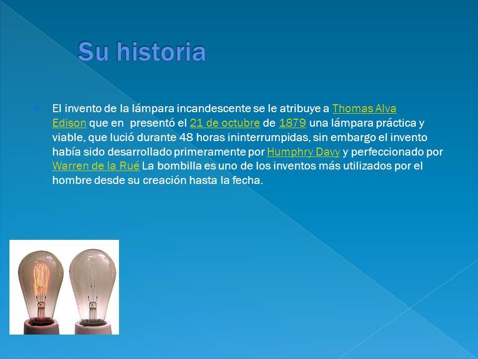 El invento de la lámpara incandescente se le atribuye a Thomas Alva Edison que en presentó el 21 de octubre de 1879 una lámpara práctica y viable, que
