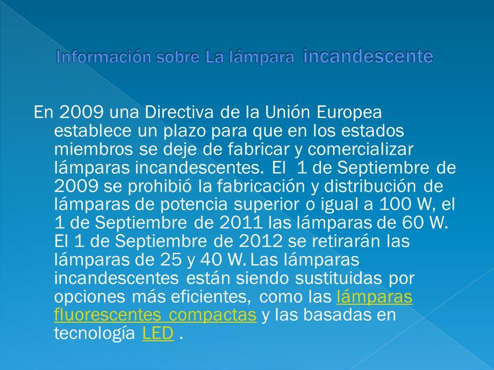 En 2009 una Directiva de la Unión Europea establece un plazo para que en los estados miembros se deje de fabricar y comercializar lámparas incandescen