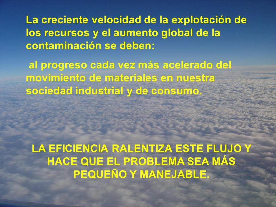 La creciente velocidad de la explotación de los recursos y el aumento global de la contaminación se deben: al progreso cada vez más acelerado del movimiento de materiales en nuestra sociedad industrial y de consumo.