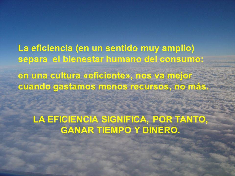 La eficiencia (en un sentido muy amplio) separa el bienestar humano del consumo: en una cultura «eficiente», nos va mejor cuando gastamos menos recursos, no más.