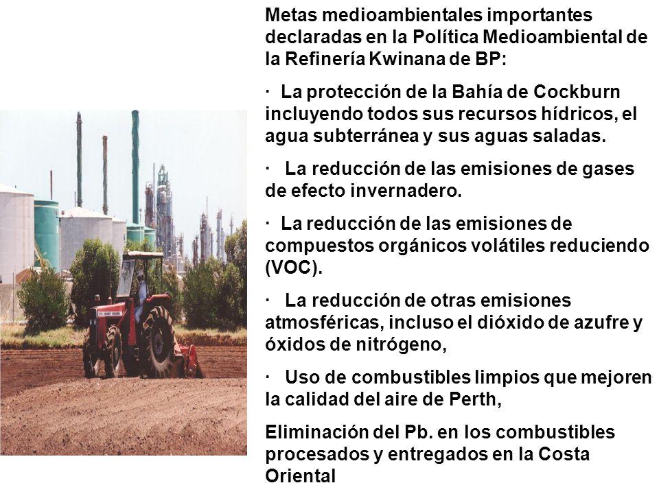 Metas medioambientales importantes declaradas en la Política Medioambiental de la Refinería Kwinana de BP: · La protección de la Bahía de Cockburn incluyendo todos sus recursos hídricos, el agua subterránea y sus aguas saladas.