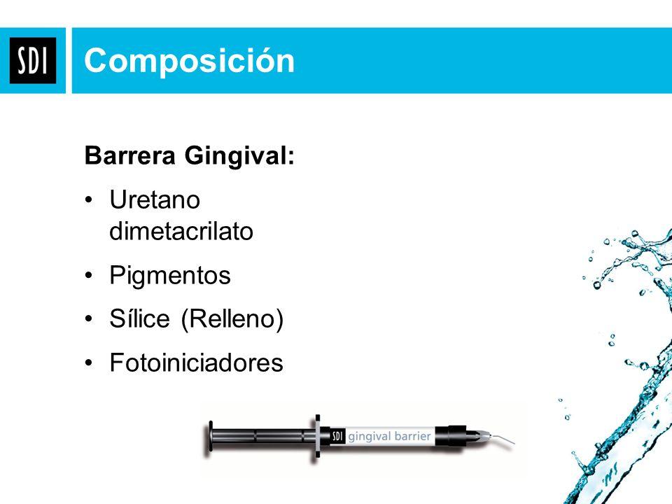 Barrera Gingival: Uretano dimetacrilato Pigmentos Sílice (Relleno) Fotoiniciadores Composición