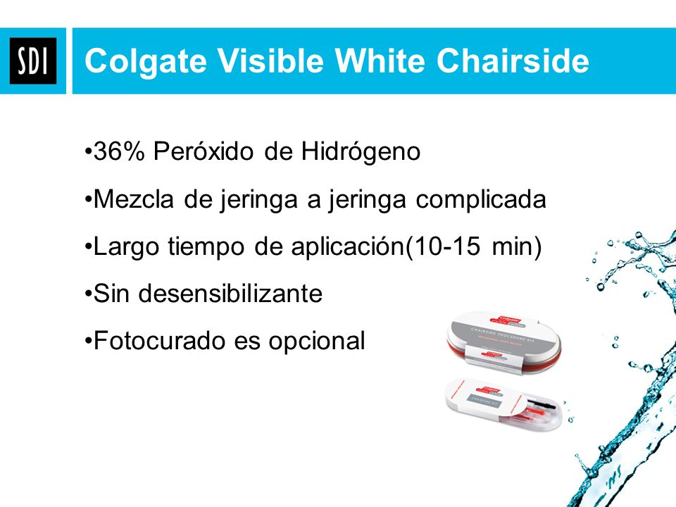 Colgate Visible White Chairside 36% Peróxido de Hidrógeno Mezcla de jeringa a jeringa complicada Largo tiempo de aplicación(10-15 min) Sin desensibili