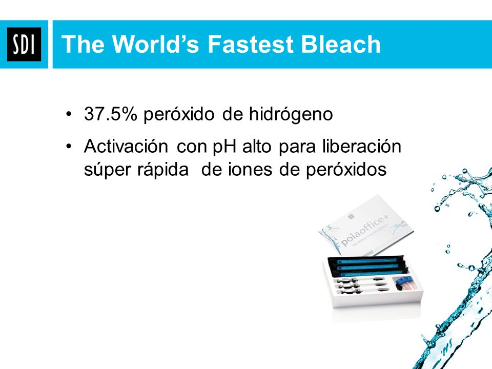 37.5% peróxido de hidrógeno Activación con pH alto para liberación súper rápida de iones de peróxidos The Worlds Fastest Bleach