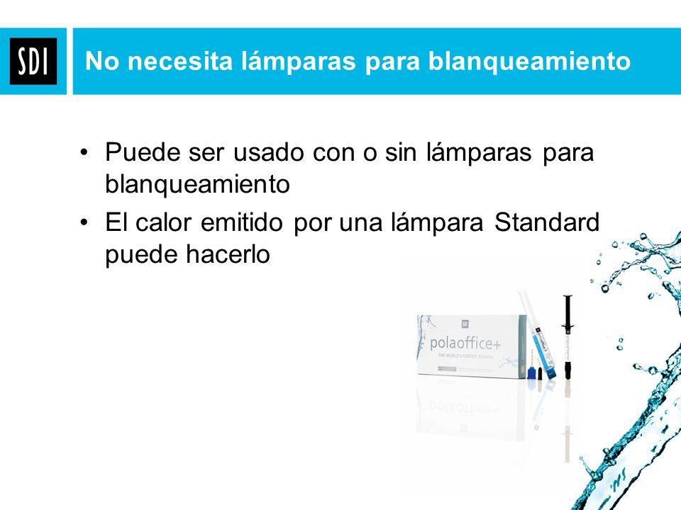 Puede ser usado con o sin lámparas para blanqueamiento El calor emitido por una lámpara Standard puede hacerlo No necesita lámparas para blanqueamient