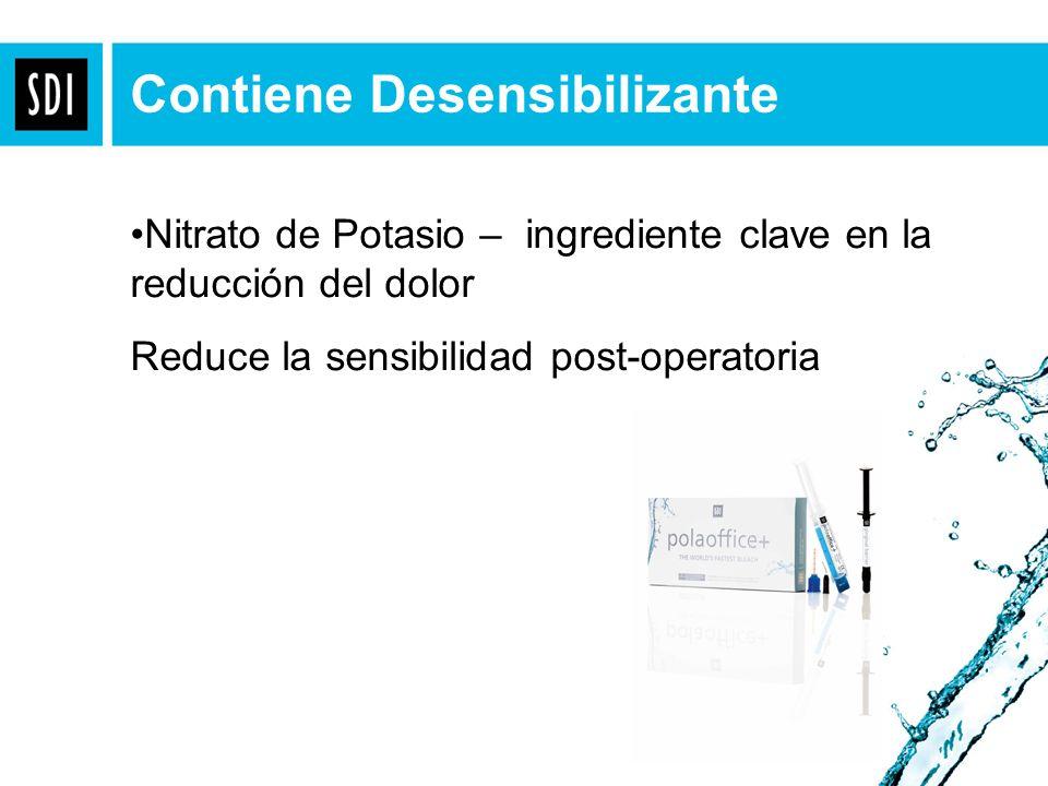Gel claro: 37.5% peróxido de hidrógeno Espesantes Agua Composición de Pola Office+ Gel Azul: Espesantes Catalizadores Colorante Nitrato de potasio Agua