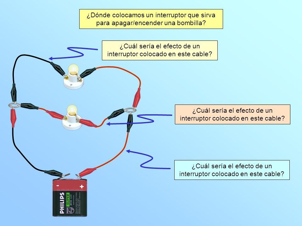 Pulsa sobre el interruptor para comprobar lo que ocurre al abrirlo o cerrarlo B2B2 B1B1 + - Veamos lo que ocurre cuando el interruptor se coloca en la posición indicada conclusiones El interruptor afecta en esa posición a las dos bombillas.