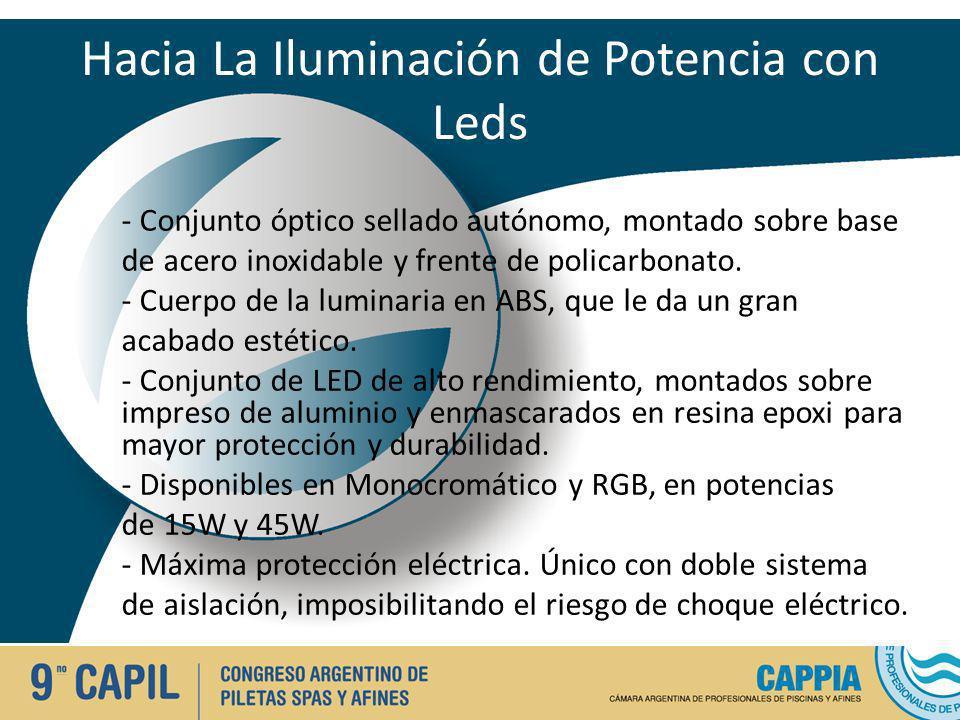 Hacia La Iluminación de Potencia con Leds - Conjunto óptico sellado autónomo, montado sobre base de acero inoxidable y frente de policarbonato.
