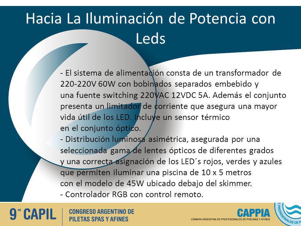 Hacia La Iluminación de Potencia con Leds - El sistema de alimentación consta de un transformador de 220-220V 60W con bobinados separados embebido y una fuente switching 220VAC 12VDC 5A.