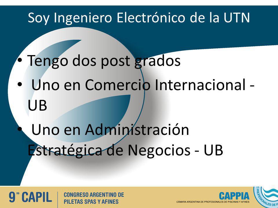 Soy Ingeniero Electrónico de la UTN Tengo dos post grados Uno en Comercio Internacional - UB Uno en Administración Estratégica de Negocios - UB