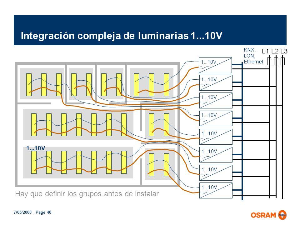 7/05/2008 - Page 39 Comparativa 1...10V con DALI (Digital Addressable Lighting Interface) 1...10V DALI Ampllia libertad de regulación Amplia libertad