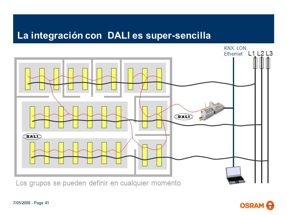 7/05/2008 - Page 40 1...10V Hay que definir los grupos antes de instalar KNX, LON, Ethernet L1 L2 L3 1...10V Integración compleja de luminarias 1...10
