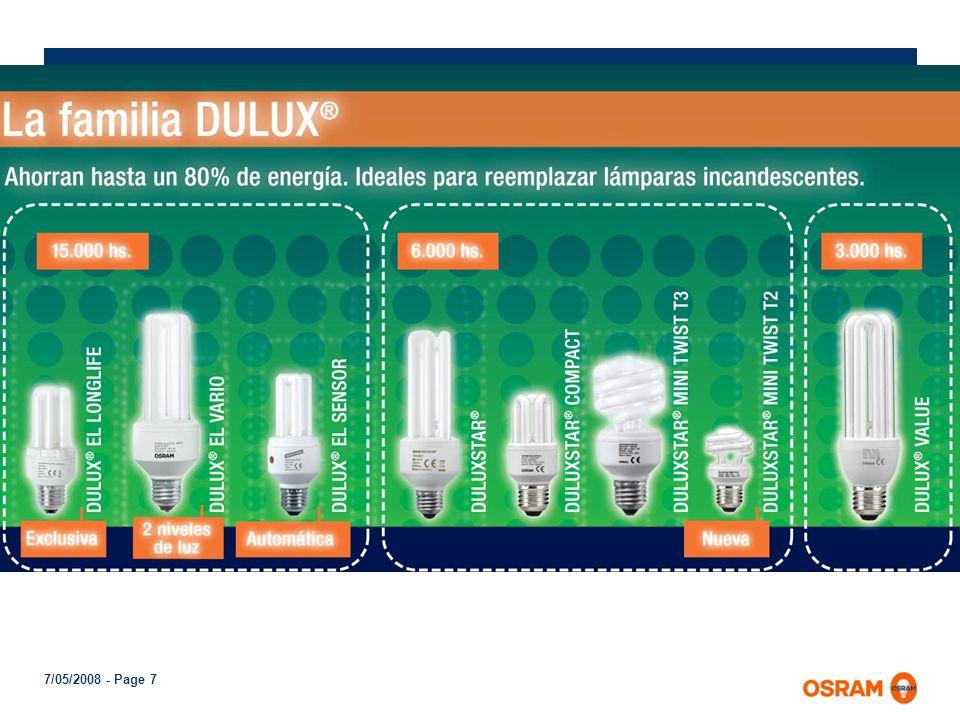 7/05/2008 - Page 6 Variedad de formatos Para adecuarse a cada una de las utilidades que tienen las lámparas comunes, las lámparas fluorescentes compac