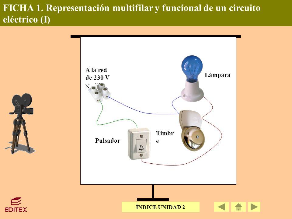 FICHA 1. Representación multifilar y funcional de un circuito eléctrico (I) A la red de 230V Pulsador Timbre L1 N Lámpara Pulsador Timbr e Lámpara A l