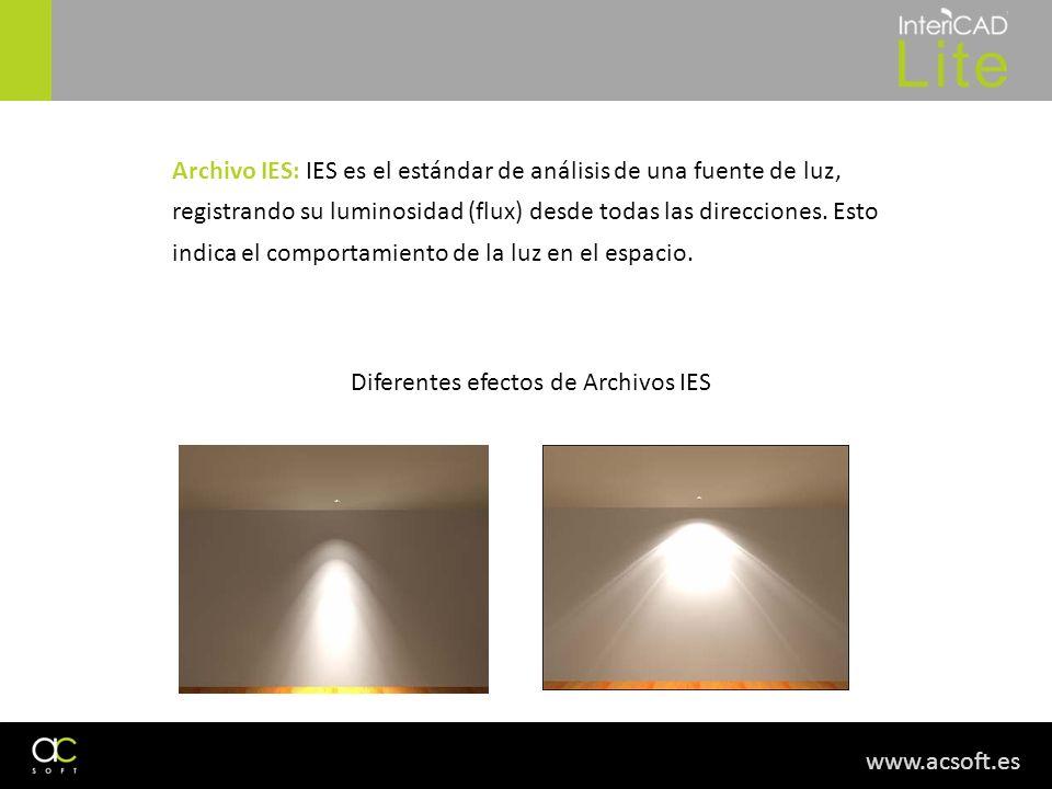 www.acsoft.es Archivo IES: IES es el estándar de análisis de una fuente de luz, registrando su luminosidad (flux) desde todas las direcciones. Esto in