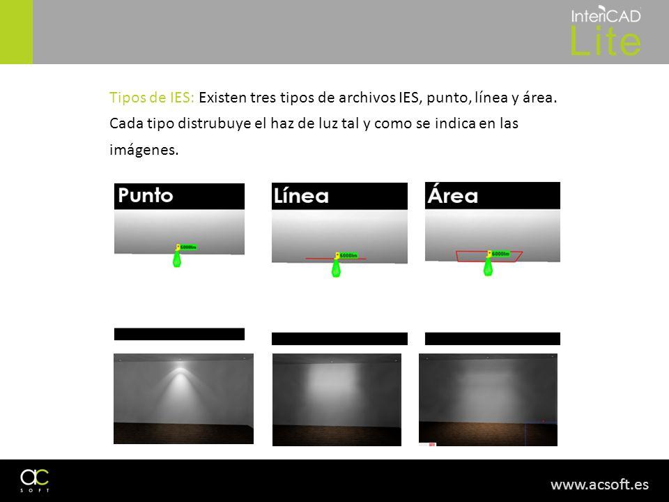 www.acsoft.es Tipos de IES: Existen tres tipos de archivos IES, punto, línea y área. Cada tipo distrubuye el haz de luz tal y como se indica en las im