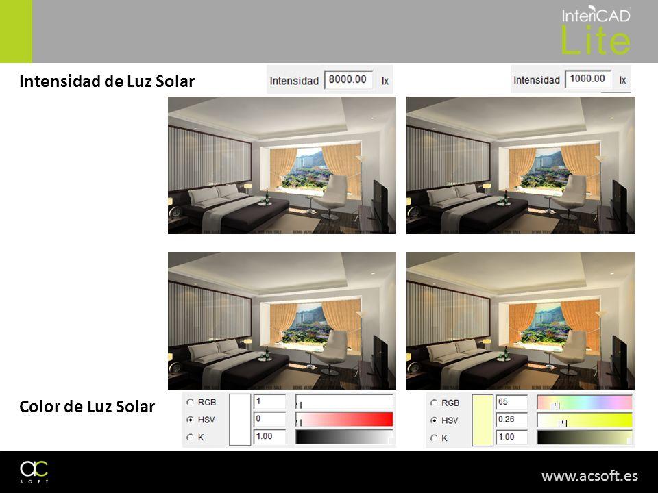 www.acsoft.es Intensidad de Luz Solar Color de Luz Solar