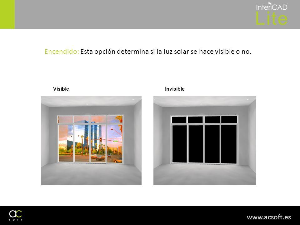 www.acsoft.es Encendido: Esta opción determina si la luz solar se hace visible o no. VisibleInvisible