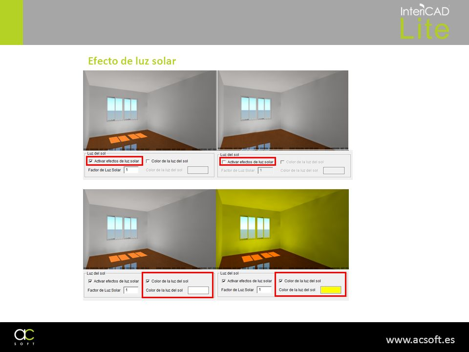 www.acsoft.es Efecto de luz solar