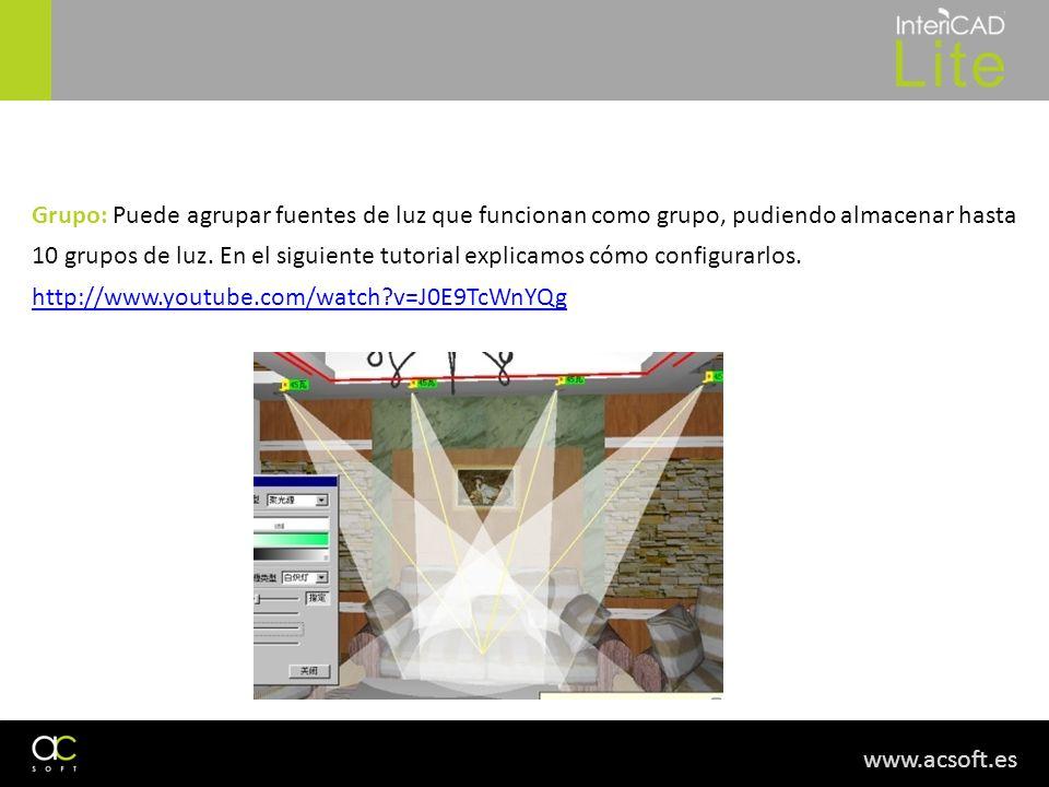 www.acsoft.es Grupo: Puede agrupar fuentes de luz que funcionan como grupo, pudiendo almacenar hasta 10 grupos de luz. En el siguiente tutorial explic